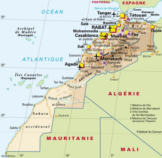 carte du royaume du maroc